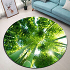 Green Tall Bamboo Forest Round Yoga Carpet Room Area Rug Porch Floor Beach Mat