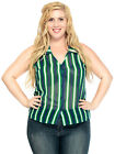 Summer Lady Women Casual Sleeveless Stripe Collar Button On T-Shirt Top Blouse