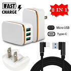 For Samsung Android Fast Rapid 2A Wall Charger Adapter Type C / Micro USB Cable