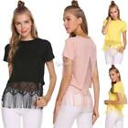 Women Casual Round Neck Short Sleeve Solid Tassel T-Shirt Top DZ88 01