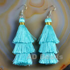 Fashion Charm Crystal Silk Tassel 3 Layers Fan Fringe Dangle Earrings