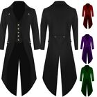 Halloween Steampunk Vintage Men Victorian Swallow Tail Long Trench Coat Jacket