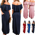 Womens Off Shoulder Ruffle Party Casual Dresses Side Split Beach Maxi Dress NEW