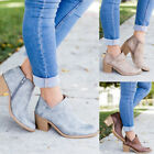 PU Leather Mid Heel Block Boots Women Casual Ankle Boots Fashion Shoes Plus Size