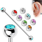 Surgical Steel Multi-Color Gem Industrial Bar Scaffold Ear Barbell Ring PIERCING image
