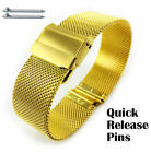 Gold Steel Adjustable Mesh Bracelet Watch Band Strap Double Locking Clasp #5027