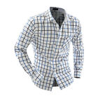 Clearance Men's Casual Formal Long Sleeve Shirts Plaid Butto