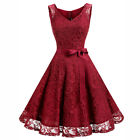 Women's 50s Vintage Lace Dress Floral Bridesmaid Cocktail Retro Party Dresses