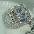 Men Silver Crystal Ring Plated Iced Out Simulated Lab Diamond Band Micropave Uk