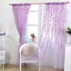 Wicker Voile Sheer Panel Drapes Curtain Leaf Pattern Curtain Home Window Decor