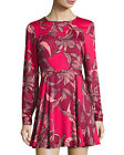 Minkpink Femme Fatale Backless Mini Cocktail Dress Long Sleeves Red Floral