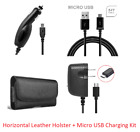 for Motorola 4 in 1 Accessory Kit Leather Case + Car + Home Charger + USB Cable