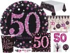 50th Pink & Black Celebration Birthday Party Balloons Tableware Decorations