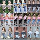 US Denim Toddler Baby Girl Lace Off Shoulder Crop Top Long Pants Outfits Clothes