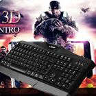 LESHP Black Comfortable Wired Game Gaming Mouse Keyboard Set With Mouse GA