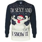 Mens Christmas Novelty Jumper Funny Snowman Thin Xmas Sweater Top Crew Neck New