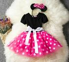 Girls Tutu Dress Princess Birthday Party Costume Minnie Mouse Headband PINK RED