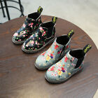 Kids Girls Floral Print Martin Boots Cute Ankle Boots Side Zip Fashion Shoes New