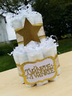 2 Tier Diaper Cake - Twinkle Twinkle Gold and White Neutral Diaper Cake