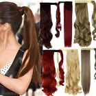 us wrap around clip in on ponytail hair extensions piece pony tail straight hg58