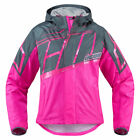 Icon Womens Pink/Grey Textile PDX 2 Motorcycle Waterproof Rain Jacket