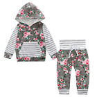 Set Pants Baby Casual Girls Kids Sport Shirt Outfits Hooded Tops+floral Sweat