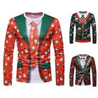 Fashion NEW Men's Christmas Round Neck Long Sleeve Fake two pieces Shirt