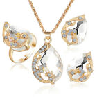 Jewelry Set Austrian Crystal Water Drop Peacock Necklace Pendent Earring 8C