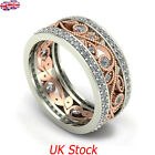 New Women Wedding Engagement Rose Gold Flower Ring Zircon Jewelry Rings Gift UK