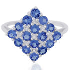 Beautiful Tanzanite 2.75 Ct. With White Topaz Ring Exotic Fashion Woman Jewelry