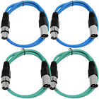 Kyпить 4 Pack of XLR Patch Cables 3 Foot Extension Cords Jumper 3 Pin - Various Colors на еВаy.соm
