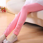 Lace flower cotton causal skinny leggings pants for girls kids clothes