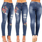 Womens Rose Embroidered Skinny Jeans Ripped Sexy Jeans Size 6 8 10 12 14