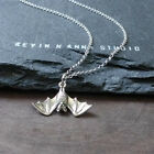 Hanging Bat Charm Pendant Necklace-925 Sterling Silver-C66