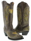 Women's Brown Heart Inlay Gold Sequins Dress Leather Cowboy Boots Snip Toe
