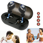 Black Wireless Bluetooth Earbuds In Ear Sport Headphone With Charging Case USA
