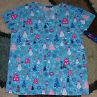 Christmas V Neck Scrub Top Bottom Pocket Reindeer Tree Snowman Print 1X to 4X