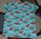 Christmas V Neck Scrub Top Bottom Pockets Owl & Xmas Lights Print Sz XS to 2X