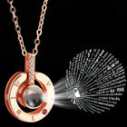 I LOVE YOU in 100 languages Silver Rose Gold Pendant Necklace Wife Mothers Gifts