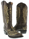 Women's Brown Flower Inlay Gold Sequins Dress Leather Cowboy Boots Snip Toe