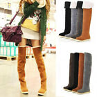 Women Over The Knee Suede Boots Long Tube Slip On Flat Winter Warm Fashion Shoes