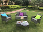 3/4-Piece Outdoor Rattan Garden Furniture Conservatory Sofa Set Table and Chairs