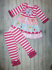 NEW Boutique Girls Pink Striped Tiered Ruffle Tunic Dress Leggings Outfit Set