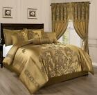 Full Queen Cal King Size Bed Solid Gold Floral Damask 7 pc Comforter Set Bedding image