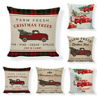 US STOCK Merry Christmas Pillow Case Linen Cotton Cushion Cover Home Decoration image
