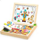 Magnetic Puzzle 100Pcs Wooden Animals Vehicle Figure Circus Drawing Board Toys
