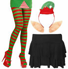 Ladies Christmas Elf Santa Helper Tights Headbopper Rara Skirt Xmas Fancy Dres