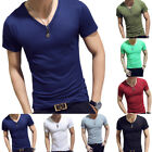 Men Gym Tight Tops T-Shirt Short Sleeve Slim Fit V-Neck Casual Fitness M-2XL