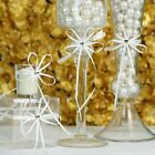 White Mini Bows with Silver Rhinestone Heart Wedding Favors Candles Decorations