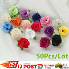 50pcs/lot Artificial Silk Roses Flowers Fake Leaf Wedding Party Home Decor Au
